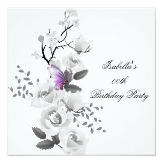 Festa de aniversário cor-de-rosa floral do branco convites