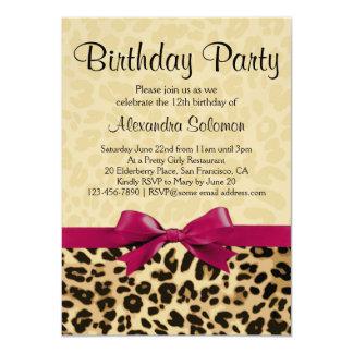 Festa de aniversário cor-de-rosa fúcsia da menina convite 11.30 x 15.87cm