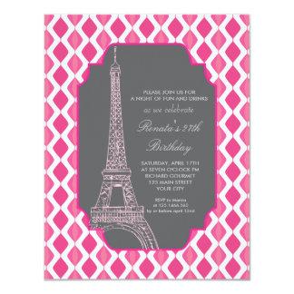 Festa de aniversário cor-de-rosa moderna de Paris Convite 10.79 X 13.97cm