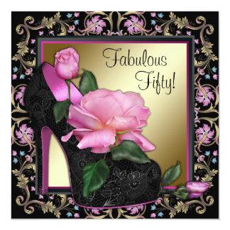 Festa de aniversário cor-de-rosa preta do ouro convite quadrado 13.35 x 13.35cm