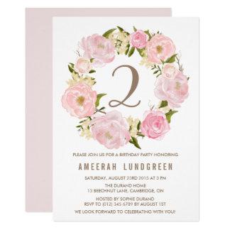 Festa de aniversário cor-de-rosa romântica da convite 12.7 x 17.78cm
