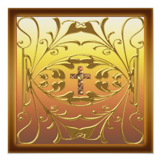 Festa de aniversário cristã Inv do casamento da Convite Quadrado 13.35 X 13.35cm
