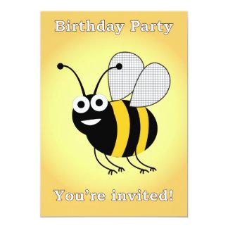 festa de aniversário da abelha convite 12.7 x 17.78cm