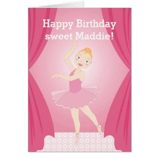 Festa de aniversário da bailarina cartão de nota