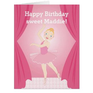 Festa de aniversário da bailarina cartão comemorativo grande