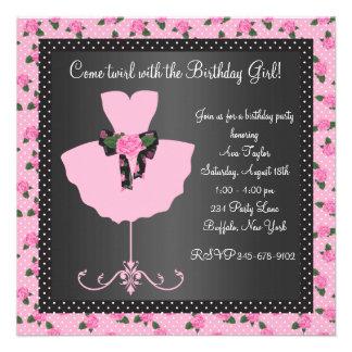 Festa de aniversário da bailarina das meninas da b convites personalizado