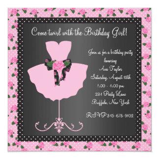 Festa de aniversário da bailarina das meninas da convite quadrado 13.35 x 13.35cm