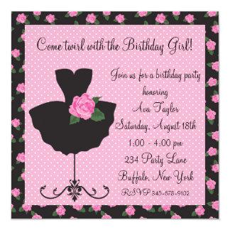Festa de aniversário da bailarina do rosa do rosa convite quadrado 13.35 x 13.35cm
