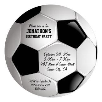 Festa de aniversário da bola de futebol do futebol convite quadrado 13.35 x 13.35cm