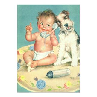 Festa de aniversário da criança do vintage, convite 12.7 x 17.78cm