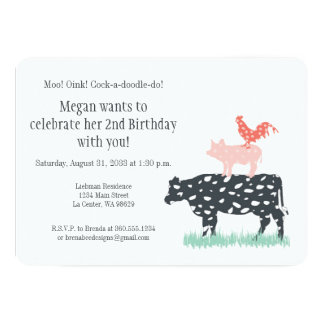 Festa de aniversário da fazenda engraçada convite 12.7 x 17.78cm