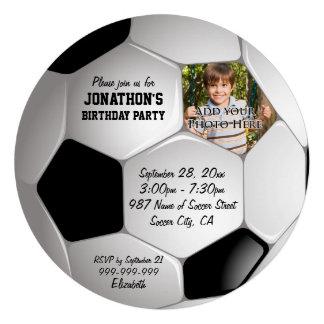 Festa de aniversário da foto da bola de futebol do convites personalizados