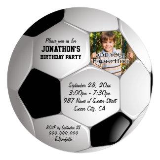 Festa de aniversário da foto da bola de futebol do convite quadrado 13.35 x 13.35cm