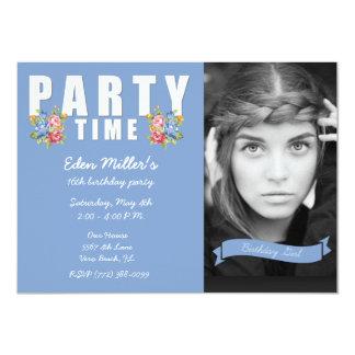 Festa de aniversário da foto da menina floral azul convite 11.30 x 15.87cm