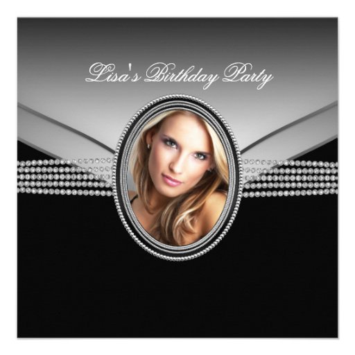 Festa de aniversário da foto da mulher do carvão convites personalizado