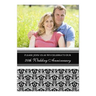 Festa de aniversário da foto preto e branco 20a convite 12.7 x 17.78cm