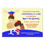 Festa de aniversário da ginástica dos Cartwheels e Convite 12.7 X 17.78cm