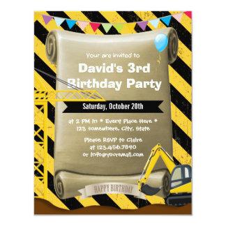 Festa de aniversário da máquina escavadora da convite 10.79 x 13.97cm