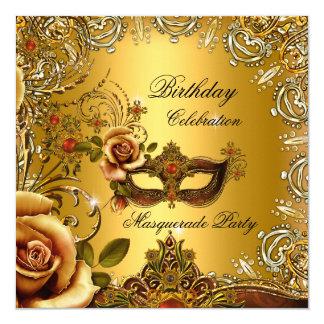 Festa de aniversário da máscara do ouro do convite quadrado 13.35 x 13.35cm