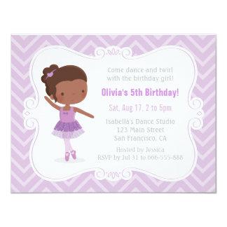 Festa de aniversário da menina da bailarina do convite 10.79 x 13.97cm