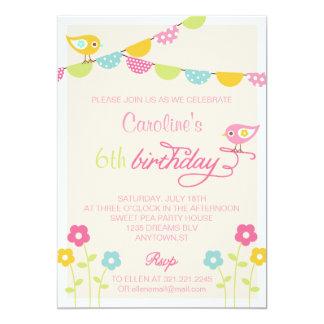 Festa de aniversário da menina das flores e das convite 12.7 x 17.78cm