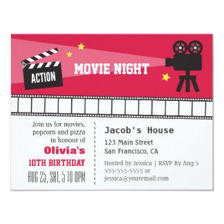 Festa de aniversário da noite de cinema da ação da convite 10.79 x 13.97cm