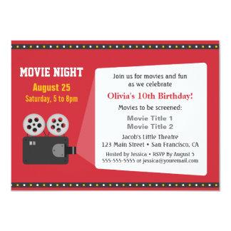 Festa de aniversário da noite de cinema do convite 11.30 x 15.87cm