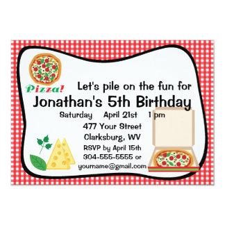 Festa de aniversário da pizza convite personalizados