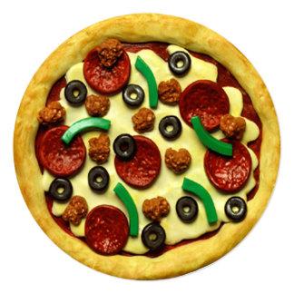 Festa de aniversário da pizza convite quadrado 13.35 x 13.35cm