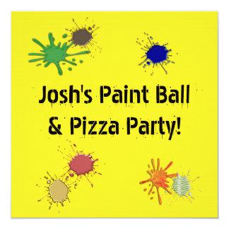 Festa de aniversário da pizza da bola da pintura convites personalizados