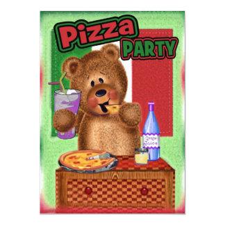 Festa de aniversário da pizza do urso de ursinho convite 12.7 x 17.78cm