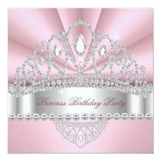 Festa de aniversário da princesa Cor-de-rosa Convite Quadrado 13.35 X 13.35cm