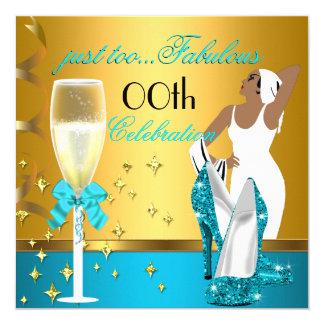 Festa de aniversário da senhora Cerceta Ouro Convite Quadrado 13.35 X 13.35cm