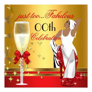 Festa de aniversário da senhora Vermelho Ouro Convite Quadrado 13.35 X 13.35cm
