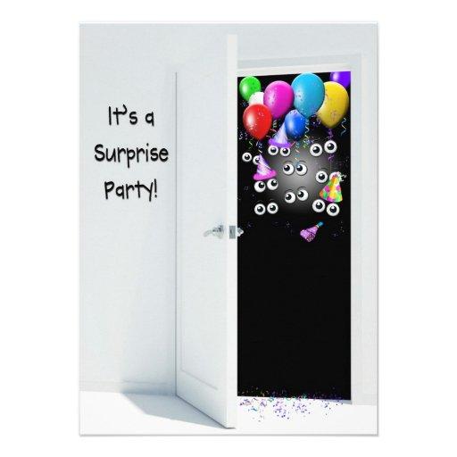 Festa de aniversário da surpresa atrás da porta convite 1130 x 15