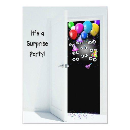 Festa de aniversário da surpresa atrás da porta convite