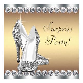 Festa de aniversário da surpresa da mulher da convite quadrado 13.35 x 13.35cm