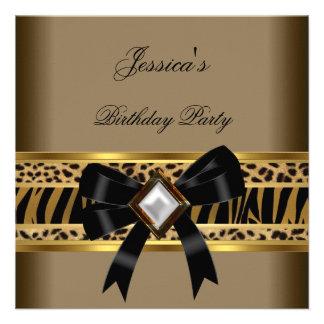 Festa de aniversário da zebra do leopardo do preto convite