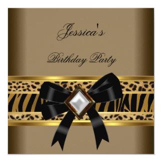 Festa de aniversário da zebra do leopardo do preto convite quadrado 13.35 x 13.35cm
