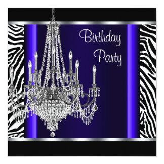 Festa de aniversário da zebra dos azuis marinhos convites personalizados