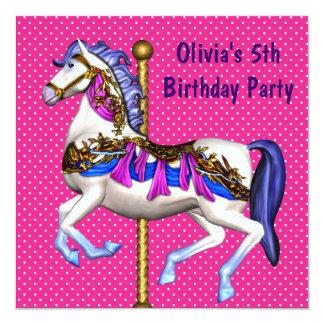 Festa de aniversário das meninas cor-de-rosa do convite quadrado 13.35 x 13.35cm