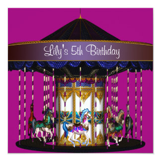 Festa de aniversário das meninas do carrossel 5a convite quadrado 13.35 x 13.35cm