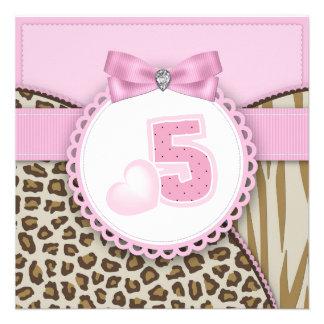 Festa de aniversário das meninas doces do safari 5 convite personalizados