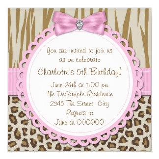 Festa de aniversário das meninas doces do safari convite quadrado 13.35 x 13.35cm