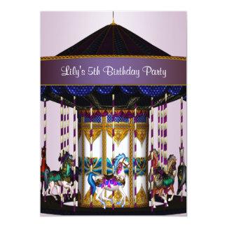Festa de aniversário das meninas dos pôneis do convite 12.7 x 17.78cm
