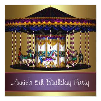 Festa de aniversário das meninas dos pôneis do convite quadrado 13.35 x 13.35cm