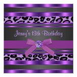 Festa de aniversário das meninas roxas do leopardo convite personalizados