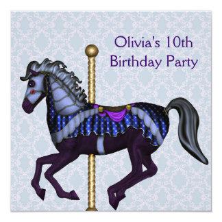Festa de aniversário das meninas roxas do pônei do convite quadrado 13.35 x 13.35cm