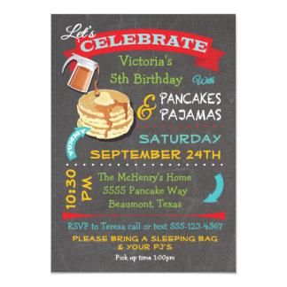 Festa de aniversário das panquecas e dos pijamas convite 12.7 x 17.78cm