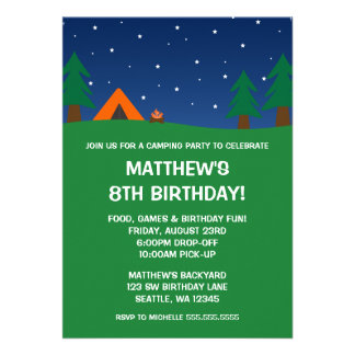 Festa de aniversário de acampamento convite